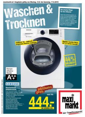 Maximarkt Waschen und Trocknen