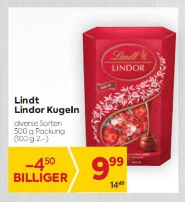Lindt Lindor Kugeln in diversen Sorten um € 9,99