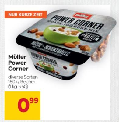 Müller Power Corner in diversen Sorten um € 0,99