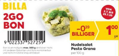 Billa 2GO Bon: Nudelsalat Pesto Grana um € 0,39 billiger.