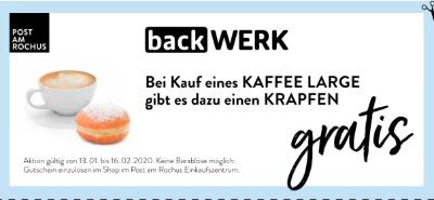 Backwerk: Bei Kauf eines KAFFEE LARGE gibt es dazu einen KRAPFEN gratis