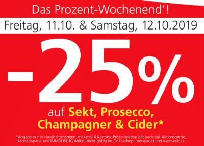 -25 % auf Sekt, Prosecco, Champagner & Cider