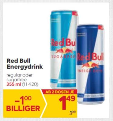 Red Bull Energydrink  (355 ml) in diversen Sorten um € 1,49