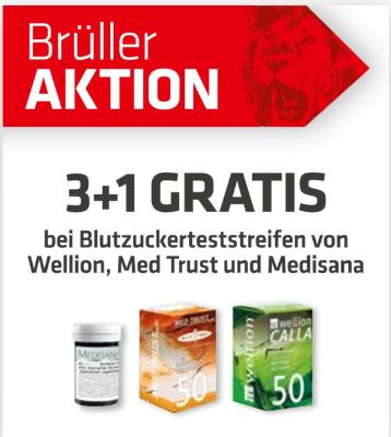 3+1 Gratis bei Blutzuckerteststreifen von Wellion, Med Trust und Medisana