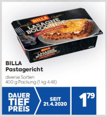 BILLA Pastagerichte in diversen Sorten um € 1,79