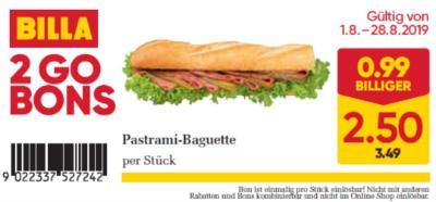 Billa 2GO Bon: Pastrami-Baguette um € 0,99 billiger.