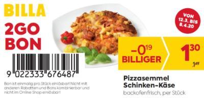 Billa 2GO Bon: Pizzasemmel Schinken-Käse um € 0,19 billiger.