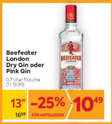 Beefeater London Dry Gin oder Pink Gin um € 13,99