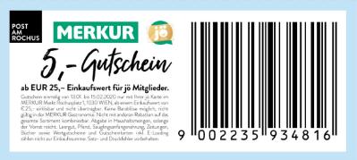 Merkur: € 5,- Gutschein ab € 25,- Einkaufswert für jö Mitglieder.