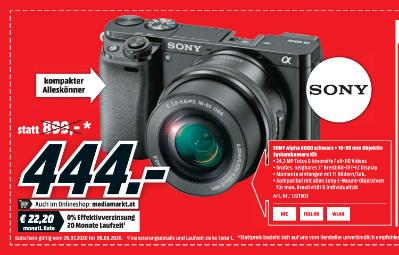 Sony Alpha 6000 + 16-50 mm Objektiv Systemkamera Kit