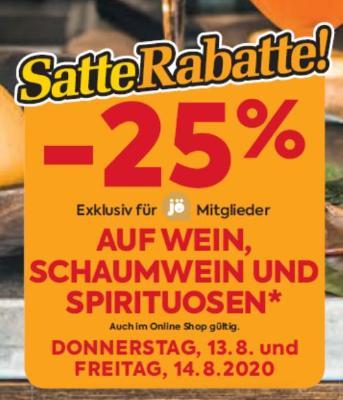 -25% auf Wein, Schaumwein und Spirituosen