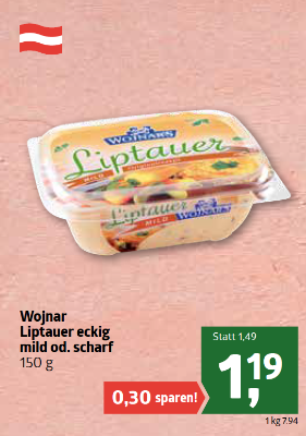 Wojnar Liptauer eckig mild oder scharf um € 1,19