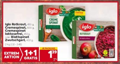Iglo Rotkraut, Cremespinat, Cremespinat laktosefrei oder Blattspinat Zwutschgerl um € 1,39