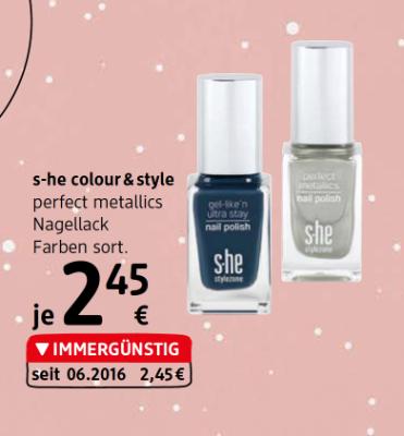 S-he colour & style perfect metallics Nagellack Farben sortiert um € 2,45