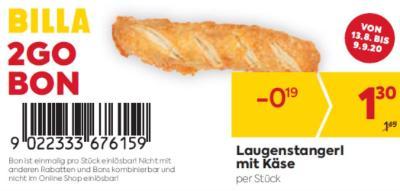Billa 2GO Bon: Laugenstangerl mit Käse um € 0,19 billiger