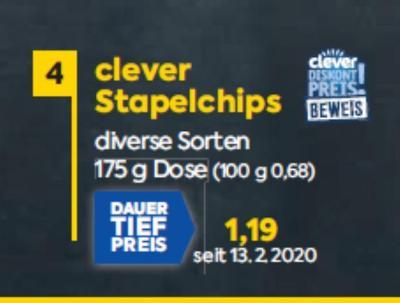 clever Stapelchips in diversen Sorten um € 1,19