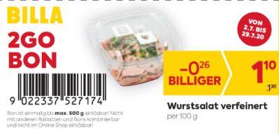 Billa 2GO Bon: Wurstsalat verfeinert um € 0,26 billiger.