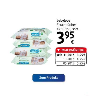 babylove Feuchttücher sortiert um € 3,95