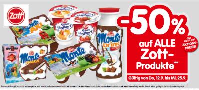 -50% auf alle Zott-Produkte