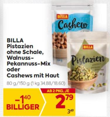 BILLA Pistazien ohne Schale, Walnuss-Pekannuss-Mix oder Cashews mit Haut um € 2,79