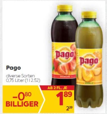 Pago Säfte in diversen Sorten um € 1,89