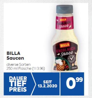 Billa Saucen in diversen Sorten um € 0,99