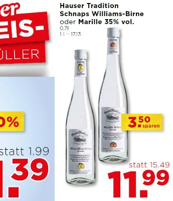 Hauser Tradition Schnaps Williams-Birne oder Marille 35% vol.