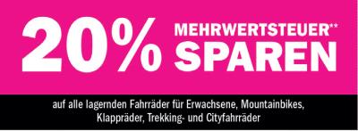 20 % Mehrwertsteuer sparen auf alle lagernden Fahrräder für Erwachsene, Mountainbikes, Klappräder, Trekking- und Cityfahrräder