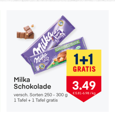 Milka Schokolade verschiedene Sorten um € 3,49