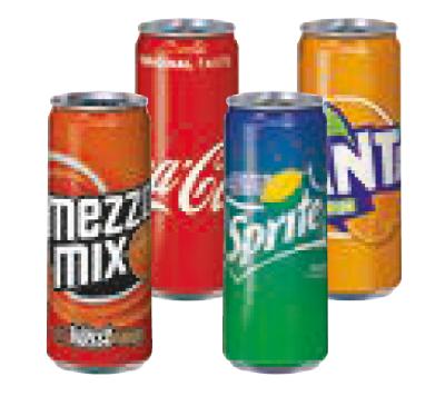Coca Cola, Fanta, Sprite oder Mezzo-Mix 0,33 l um 0,59 €