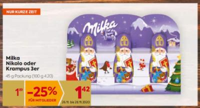 Milka Nikolo oder Krampus 3er um € 1,89