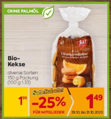 Ja Natürlich Bio-Kekse in diversen Sorten um € 1,99
