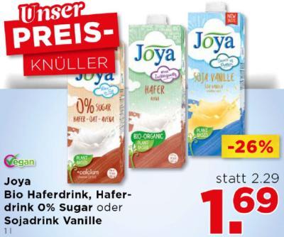 Joya Bio Haferdrink, Haferdrink O% Sugar oder Sojadrink Vanille