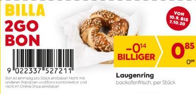 Billa 2GO Bon: Laugenring um € 0,14 billiger.