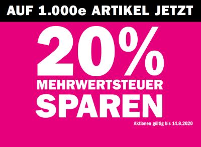 Auf 1000e Artikel jetzt 20% MwSt sparen