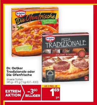 Dr. Oetker Tradizionale oder Die Ofenfrische in diversen Sorten um € 1,69