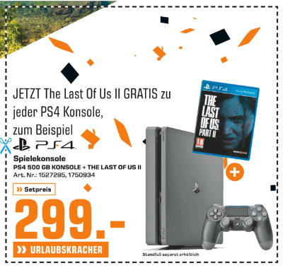 PS4 Spielekonsole + THE LAST OF US II um € 299,-
