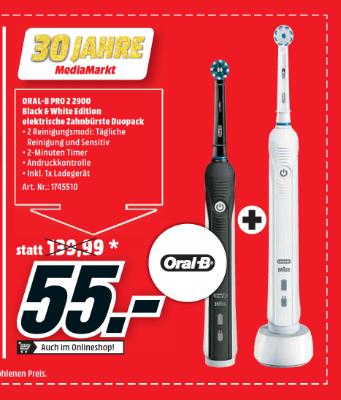 Oral-B Pro 2 2900 Black & White Edition elektrische Zahnbürste Duopack