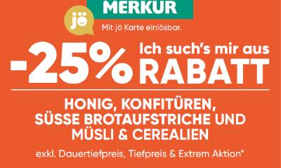 -25% auf Honig, Konfitüren, süsse Brotaufstriche und Müsli & Cerealien