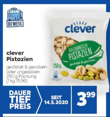 clever Pistazien in diversen Sorten um € 3,99