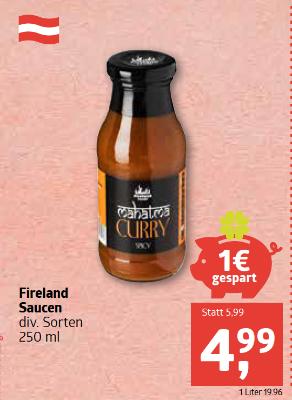 Fireland Saucen diverse Sorten um € 4,99
