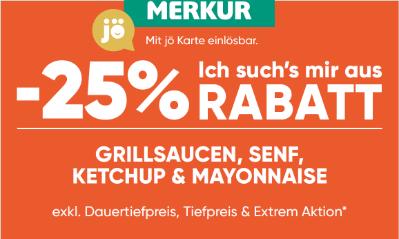 -25% auf Grillsaucen, Senf, Ketchup & Mayonnaise
