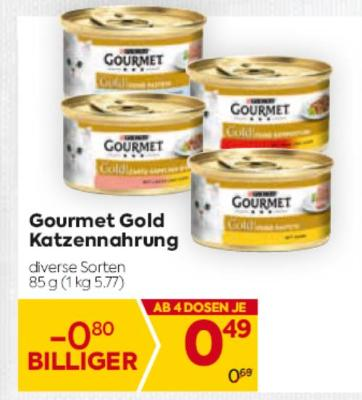 Gourmet Gold Katzennahrung in diversen Sorten um € 0,49