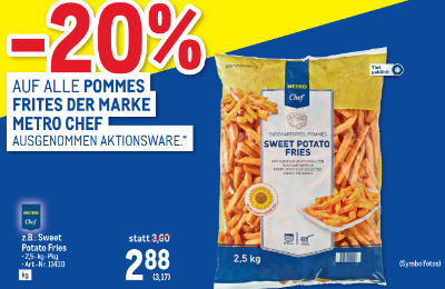 -20% auf alle Pommes Frites der Marke Metro Chef