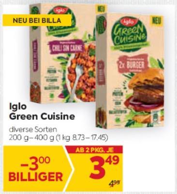 Iglo Green Cuisine in diversen Sorten um € 3,49