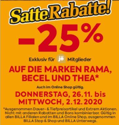 -25% auf die Marken Rama, Becel und Thea
