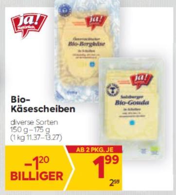 Ja Natürlich Bio Käsescheiben in diversen Sorten um € 1,99