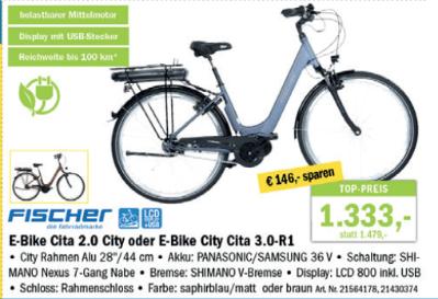 Fischer E-Bike Cita 2.0 City oder E-Bike City Cita 3.0-R1