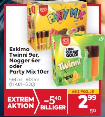 Eskimo Twinni 9er, Nogger 6er oder Party Mix 10er um € 2,99