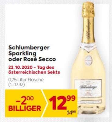 Schlumberger Sparkling oder Rosé Secco um € 12,99
